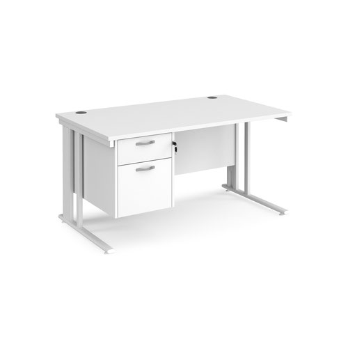 Maestro 25 straight desk 1400mm x 800mm with 2 drawer pedestal - white cable managed leg frame and white top