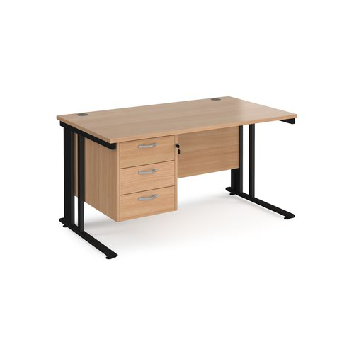Maestro 25 straight desk 1400mm x 800mm with 3 drawer pedestal - black cable managed leg frame and beech top