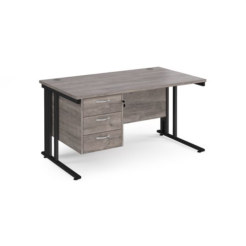 Maestro 25 straight desk 1400mm x 800mm with 3 drawer pedestal - black cable managed leg frame and grey oak top