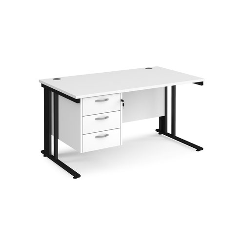 Maestro 25 straight desk 1400mm x 800mm with 3 drawer pedestal - black cable managed leg frame and white top