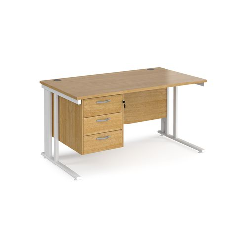 Maestro 25 straight desk 1400mm x 800mm with 3 drawer pedestal - white cable managed leg frame and oak top