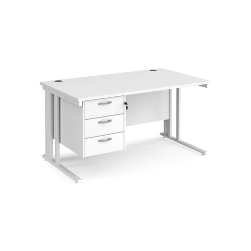 Maestro 25 straight desk 1400mm x 800mm with 3 drawer pedestal - white cable managed leg frame and white top