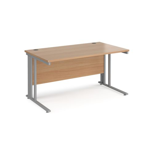 Maestro 25 straight desk 1400mm x 800mm - silver cable managed leg frame and beech top