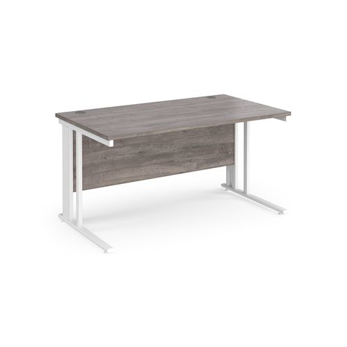 Maestro 25 straight desk 1400mm x 800mm - white cable managed leg frame and grey oak top