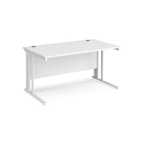 Maestro 25 straight desk 1400mm x 800mm - white cable managed leg frame and white top