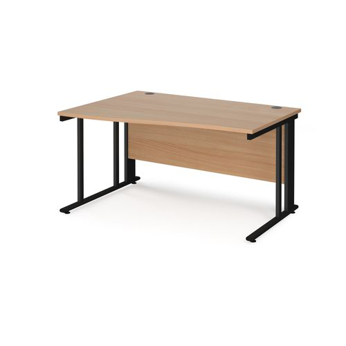 Maestro 25 left hand wave desk 1400mm wide - black cable managed leg frame and beech top
