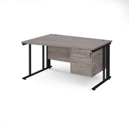 Maestro 25 left hand wave desk 1400mm wide with 2 drawer pedestal - black cable managed leg frame and grey oak top