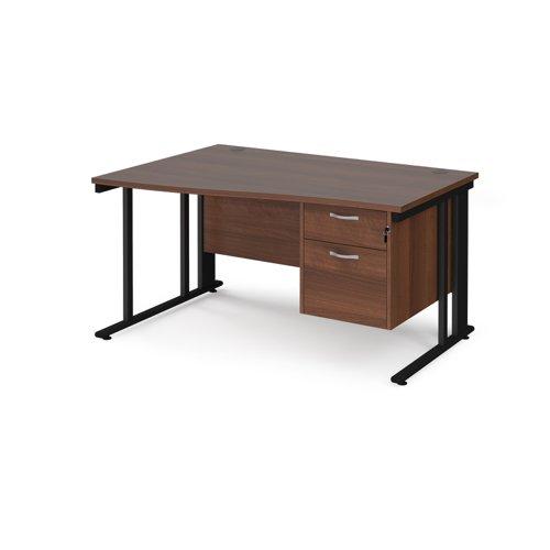 Maestro 25 left hand wave desk 1400mm wide with 2 drawer pedestal - black cable managed leg frame and walnut top