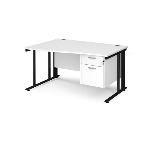 Maestro 25 left hand wave desk 1400mm wide with 2 drawer pedestal - black cable managed leg frame and white top