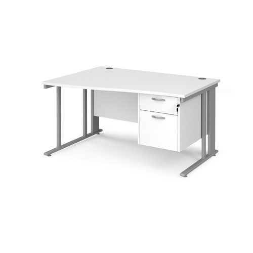 Maestro 25 left hand wave desk 1400mm wide with 2 drawer pedestal - silver cable managed leg frame and white top