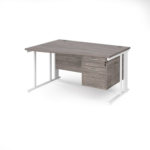Maestro 25 left hand wave desk 1400mm wide with 2 drawer pedestal - white cable managed leg frame and grey oak top