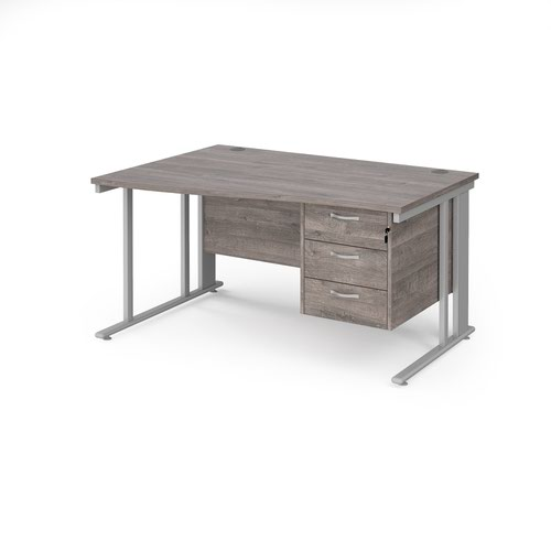 Maestro 25 left hand wave desk 1400mm wide with 3 drawer pedestal - silver cable managed leg frame and grey oak top
