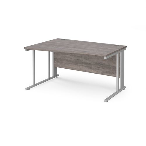 Maestro 25 left hand wave desk 1400mm wide - silver cable managed leg frame and grey oak top