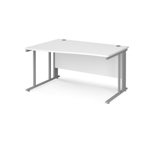 Maestro 25 left hand wave desk 1400mm wide - silver cable managed leg frame and white top
