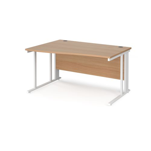 Maestro 25 left hand wave desk 1400mm wide - white cable managed leg frame and beech top