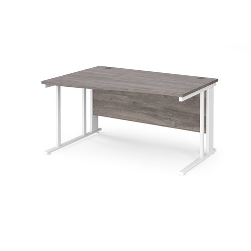 Maestro 25 left hand wave desk 1400mm wide - white cable managed leg frame and grey oak top