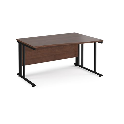 Maestro 25 right hand wave desk 1400mm wide - black cable managed leg frame and walnut top