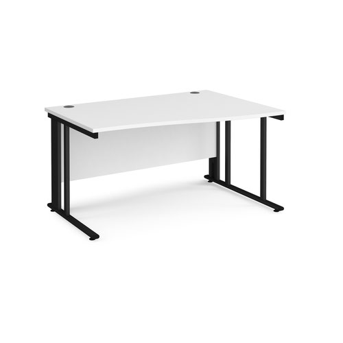 Maestro 25 right hand wave desk 1400mm wide - black cable managed leg frame and white top