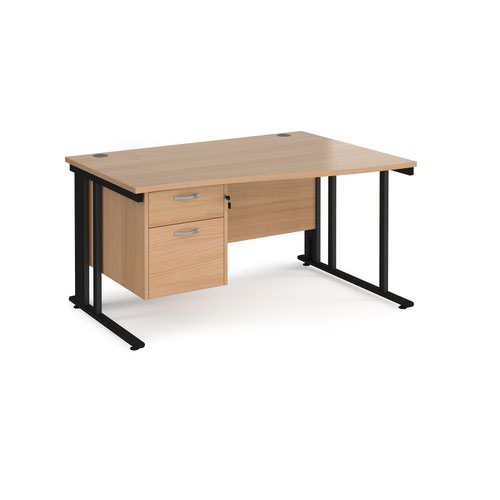 Maestro 25 right hand wave desk 1400mm wide with 2 drawer pedestal - black cable managed leg frame and beech top