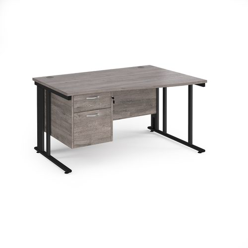 Maestro 25 right hand wave desk 1400mm wide with 2 drawer pedestal - black cable managed leg frame and grey oak top