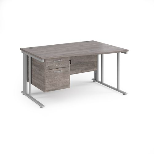 Maestro 25 right hand wave desk 1400mm wide with 2 drawer pedestal - silver cable managed leg frame and grey oak top