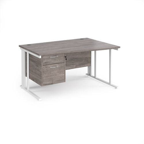 Maestro 25 right hand wave desk 1400mm wide with 2 drawer pedestal - white cable managed leg frame and grey oak top