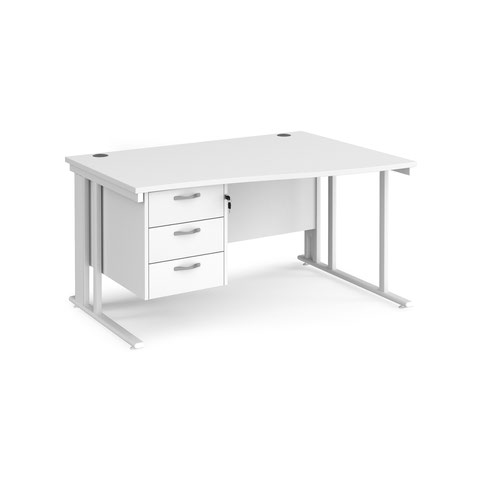 Maestro 25 right hand wave desk 1400mm wide with 3 drawer pedestal - white cable managed leg frame and white top