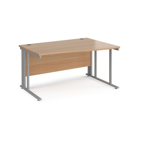 Maestro 25 right hand wave desk 1400mm wide - silver cable managed leg frame and beech top