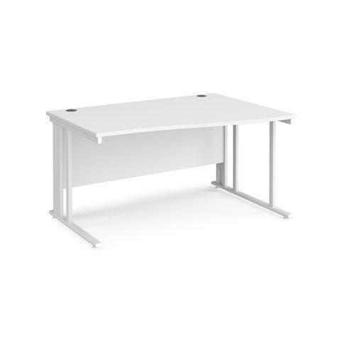 Maestro 25 right hand wave desk 1400mm wide - white cable managed leg frame and white top