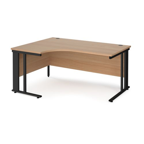 Maestro 25 left hand ergonomic desk 1600mm wide - black cable managed leg frame and beech top