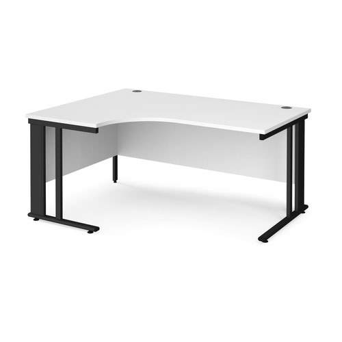 Maestro 25 left hand ergonomic desk 1600mm wide - black cable managed leg frame and white top