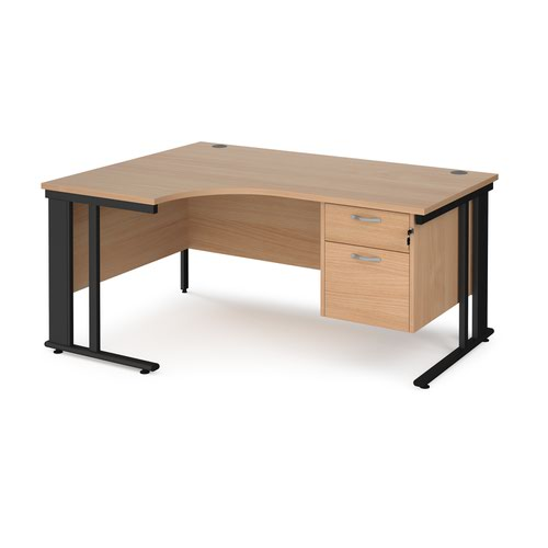 Maestro 25 left hand ergonomic desk 1600mm wide with 2 drawer pedestal - black cable managed leg frame and beech top