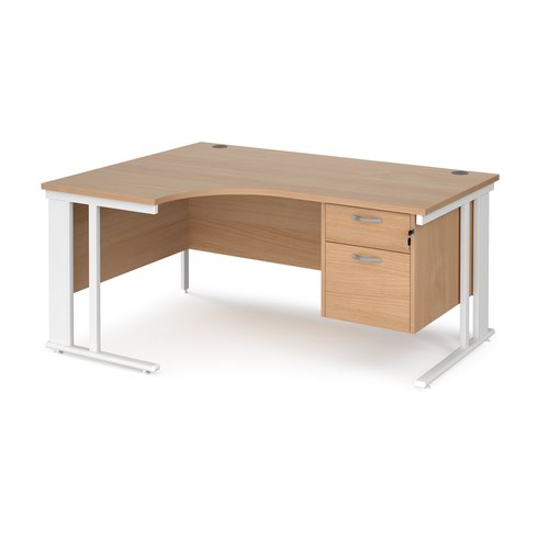 Maestro 25 left hand ergonomic desk 1600mm wide with 2 drawer pedestal - white cable managed leg frame and beech top