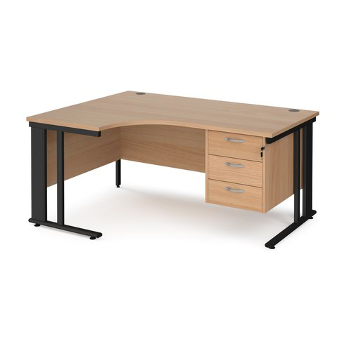 Maestro 25 left hand ergonomic desk 1600mm wide with 3 drawer pedestal - black cable managed leg frame and beech top