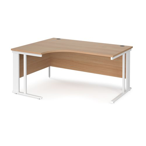 Maestro 25 left hand ergonomic desk 1600mm wide - white cable managed leg frame and beech top