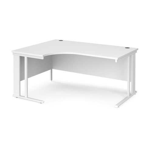 Maestro 25 left hand ergonomic desk 1600mm wide - white cable managed leg frame and white top
