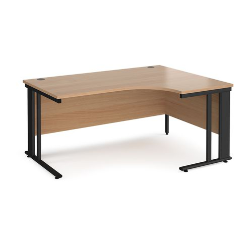 Maestro 25 right hand ergonomic desk 1600mm wide - black cable managed leg frame and beech top
