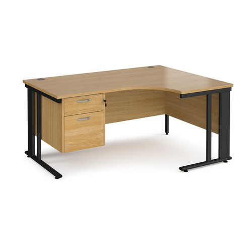 Maestro 25 right hand ergonomic desk 1600mm wide with 2 drawer pedestal - black cable managed leg frame and oak top