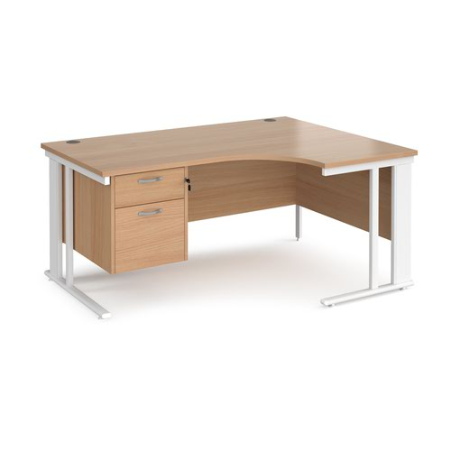 Maestro 25 right hand ergonomic desk 1600mm wide with 2 drawer pedestal - white cable managed leg frame and beech top