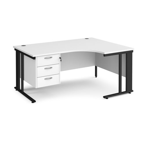 Maestro 25 right hand ergonomic desk 1600mm wide with 3 drawer pedestal - black cable managed leg frame and white top