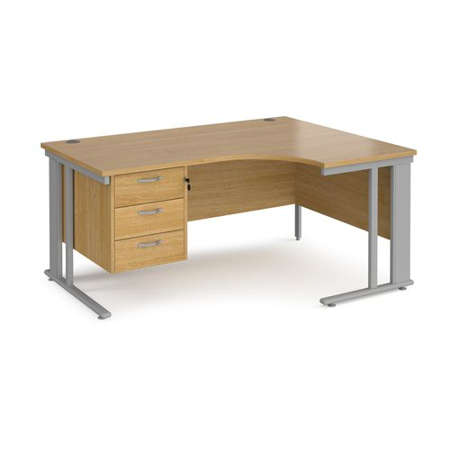 Maestro 25 right hand ergonomic desk 1600mm wide with 3 drawer pedestal - silver cable managed leg frame and oak top