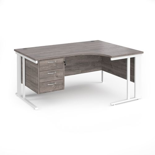 Maestro 25 right hand ergonomic desk 1600mm wide with 3 drawer pedestal - white cable managed leg frame and grey oak top