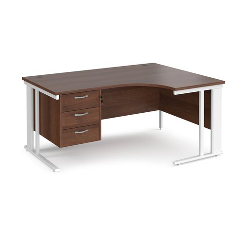 Maestro 25 right hand ergonomic desk 1600mm wide with 3 drawer pedestal - white cable managed leg frame and walnut top