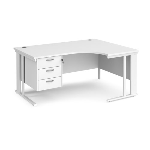 Maestro 25 right hand ergonomic desk 1600mm wide with 3 drawer pedestal - white cable managed leg frame and white top