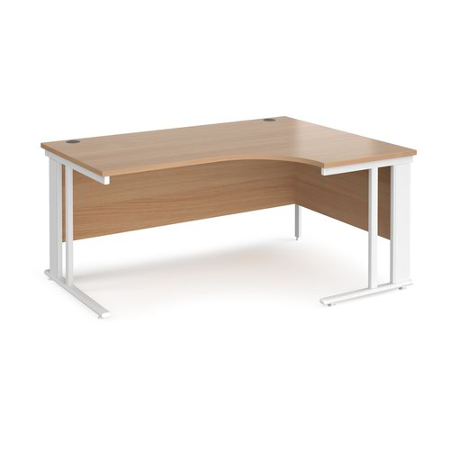 Maestro 25 right hand ergonomic desk 1600mm wide - white cable managed leg frame and beech top