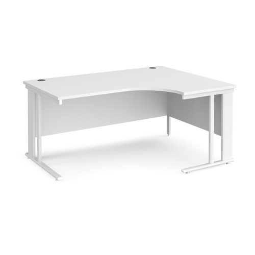 Maestro 25 right hand ergonomic desk 1600mm wide - white cable managed leg frame and white top