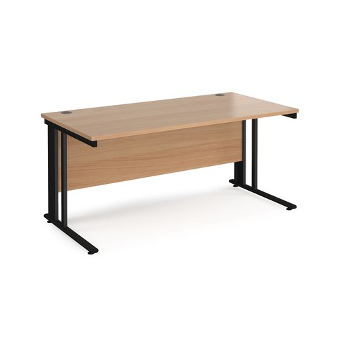 Maestro 25 straight desk 1600mm x 800mm - black cable managed leg frame and beech top