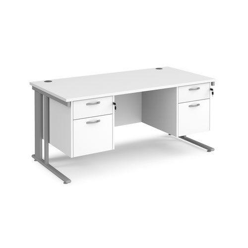 Maestro 25 cable managed 800mm deep desk with 2 x 2 drawer peds
