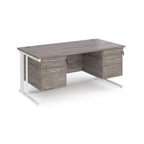 Maestro 25 straight desk 1600mm x 800mm with two x 2 drawer pedestals - white cable managed leg frame and grey oak top