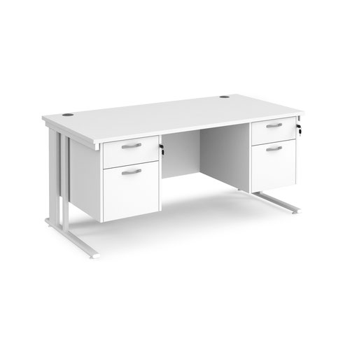 Maestro 25 straight desk 1600mm x 800mm with two x 2 drawer pedestals - white cable managed leg frame and white top